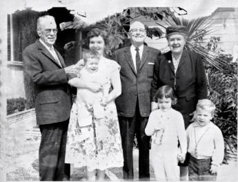 Los Angeles, 1960. Douglas Donaldson (left) with niece Marion Harris, three of her children and other relatives.