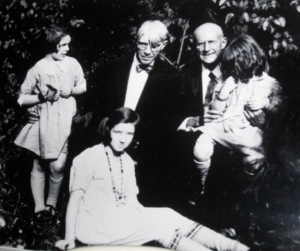 Eugene Debs visiting with Carl Sandburg and family in Elmhurst, Illinois.